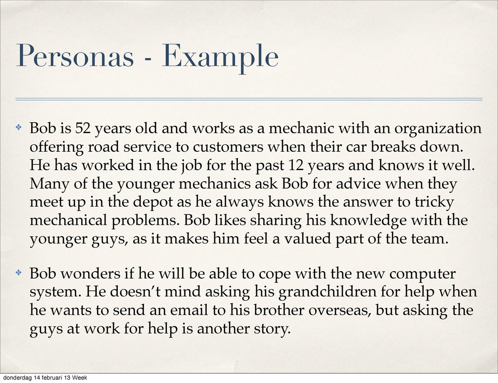 ✤ Bob is 52 years old and works as a mechanic w...