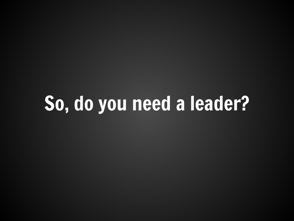 So, do you need a leader?
