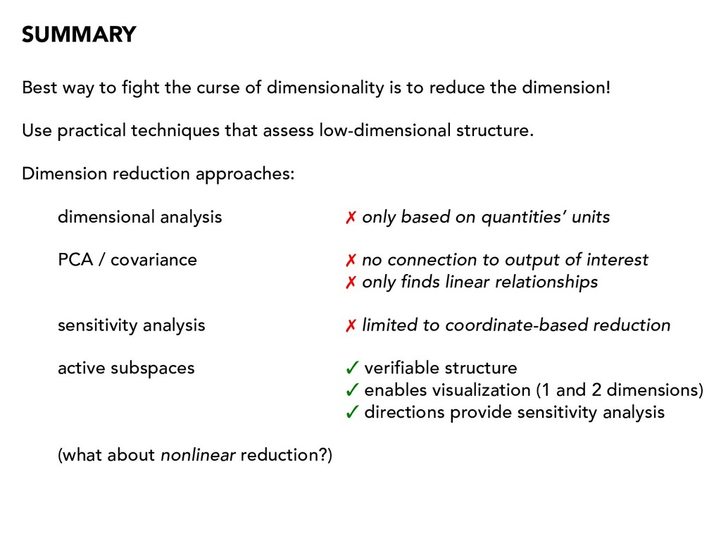 SUMMARY Best way to fight the curse of dimensio...