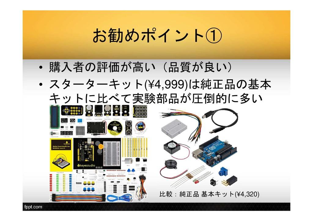 お勧めポイント① • 購入者の評価が高い(品質が良い) • スターターキット(¥4,999)は...