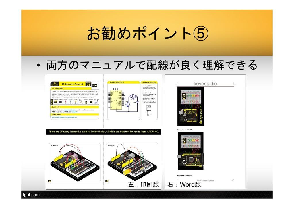 お勧めポイント⑤ • 両方のマニュアルで配線が良く理解できる 左:印刷版 右:Word版
