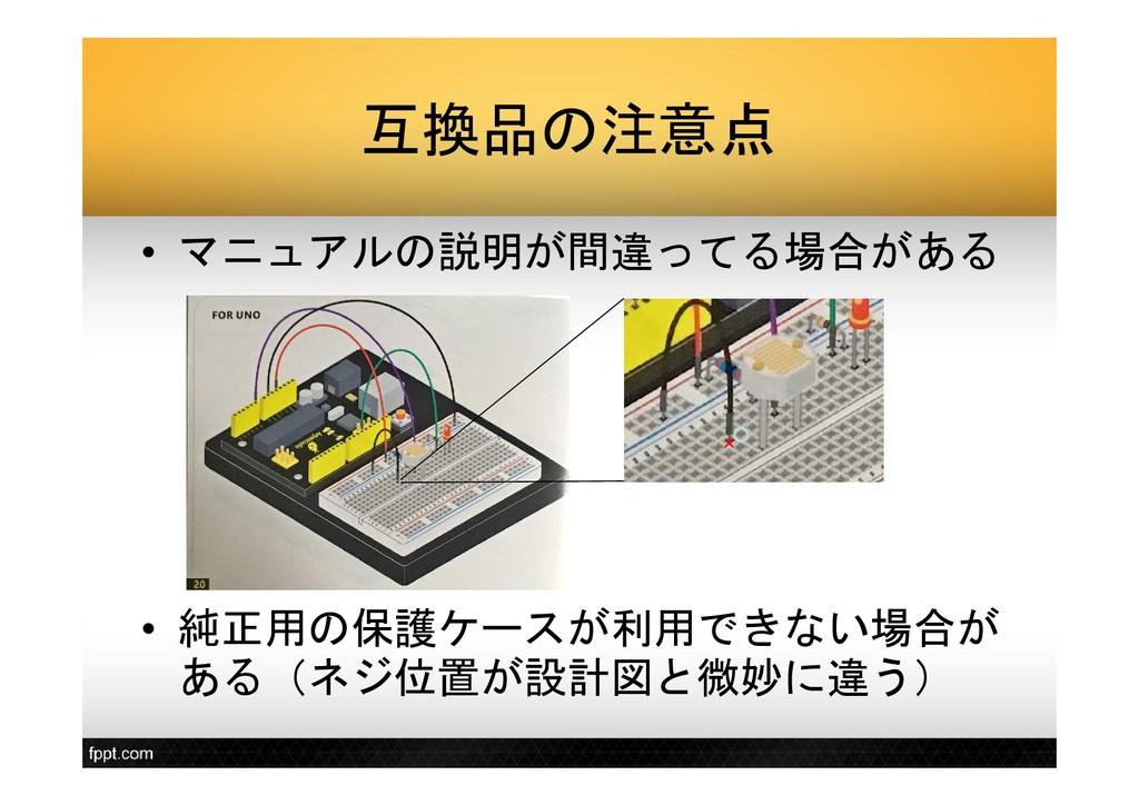 互換品の注意点 • マニュアルの説明が間違ってる場合がある • 純正用の保護ケースが利用できな...