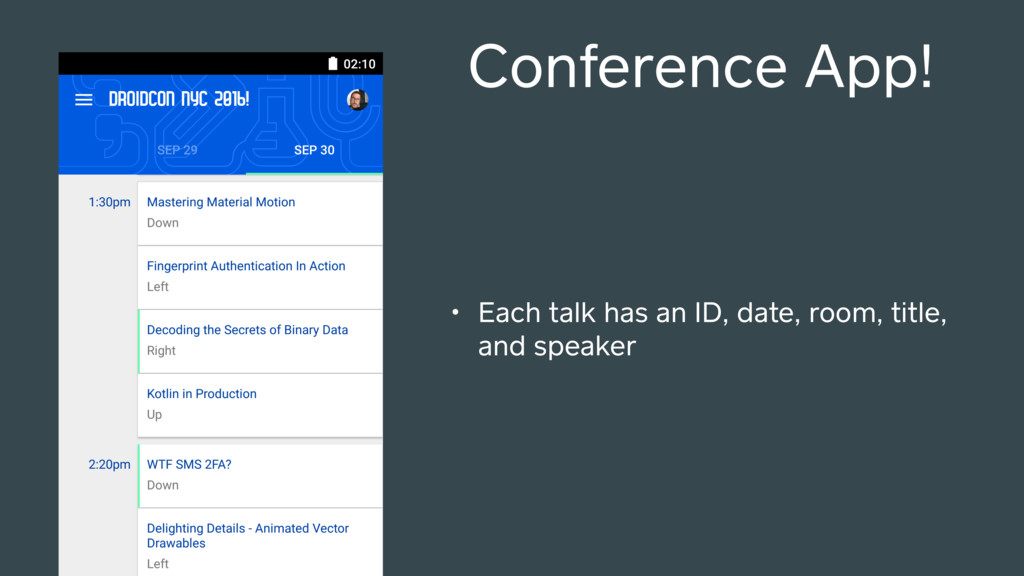 Conference App! • Each talk has an ID, date, ro...