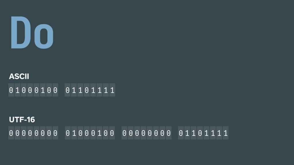 ASCII 0 1 0 0 0 1 0 0 0 1 1 0 1 1 1 1 0 1 0 0 0...