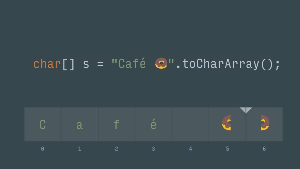 """char[] s = """"Café """".toCharArray(); C a f é 0 1..."""