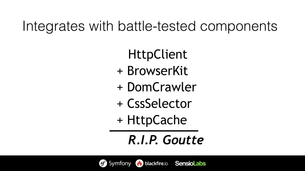 R.I.P. Goutte Integrates with battle-tested com...