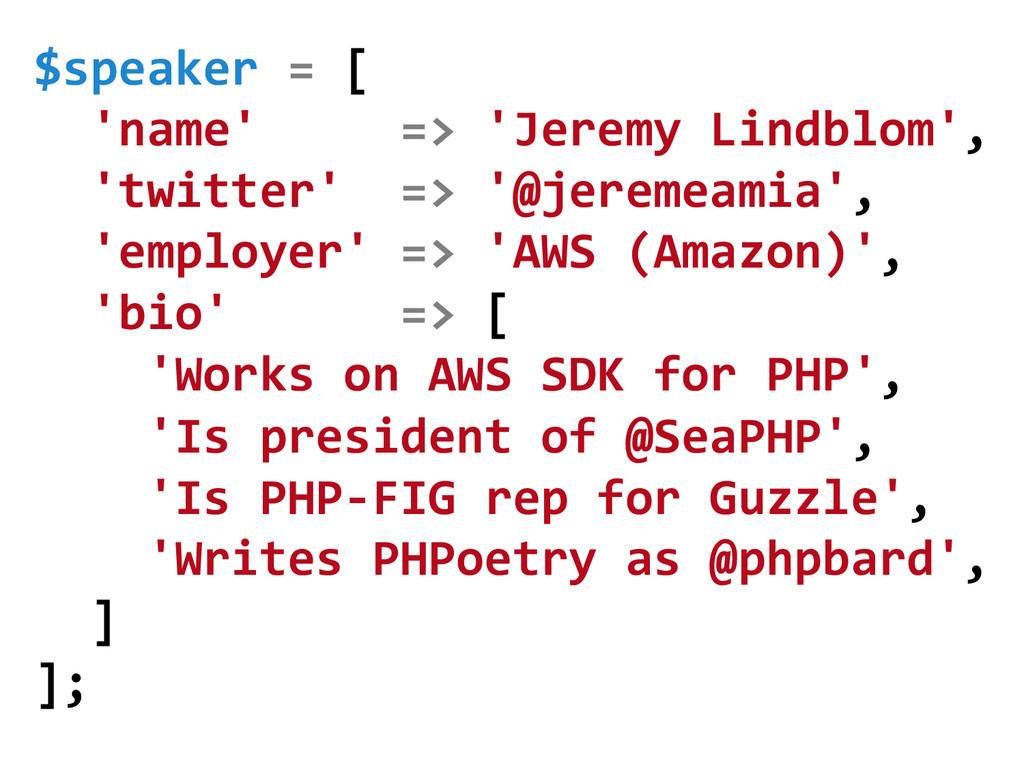$speaker = [    'name'  ...