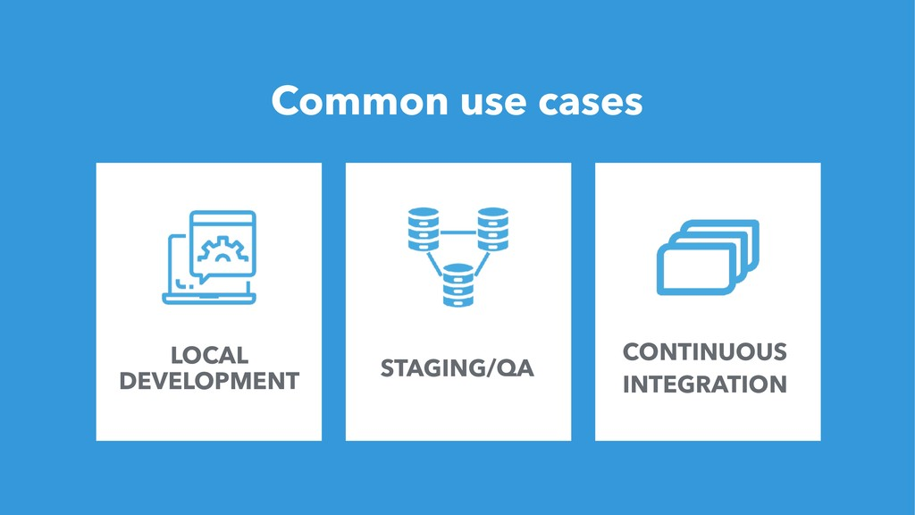 21 Common use cases LOCAL DEVELOPMENT STAGING/Q...
