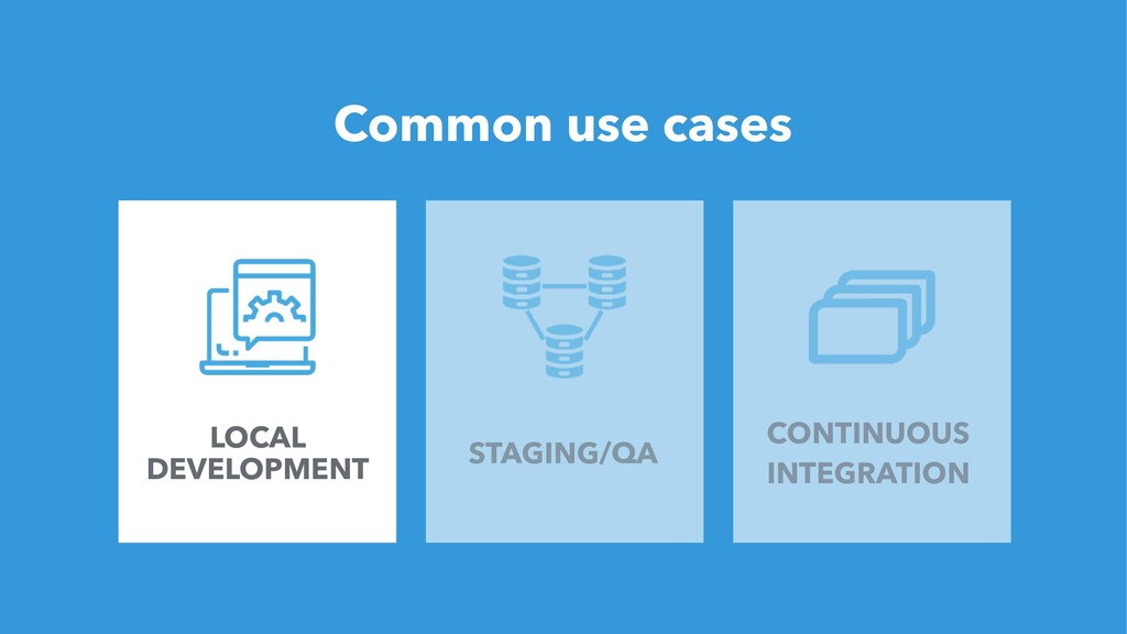 22 Common use cases LOCAL DEVELOPMENT STAGING/Q...