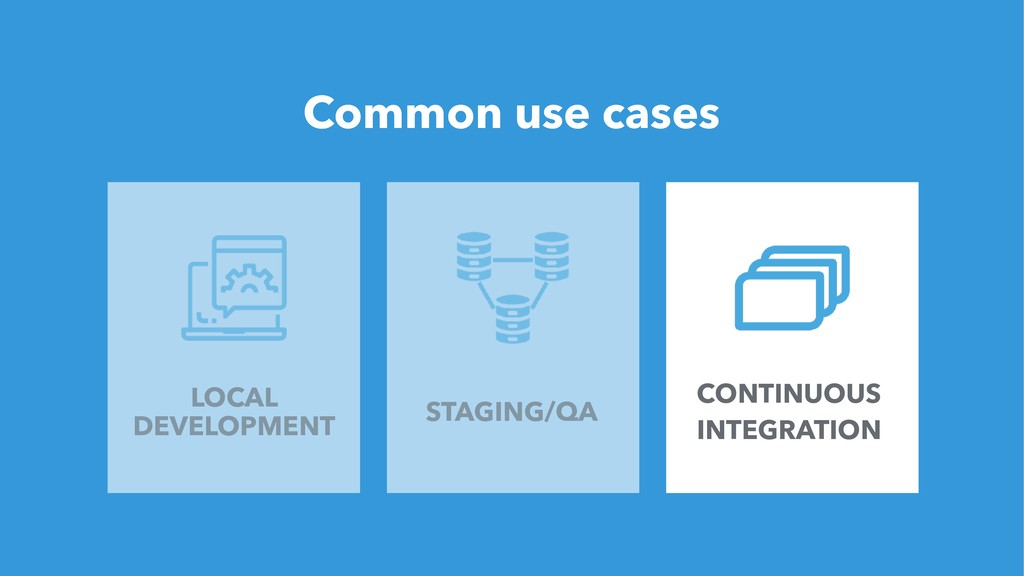 24 Common use cases LOCAL DEVELOPMENT STAGING/Q...