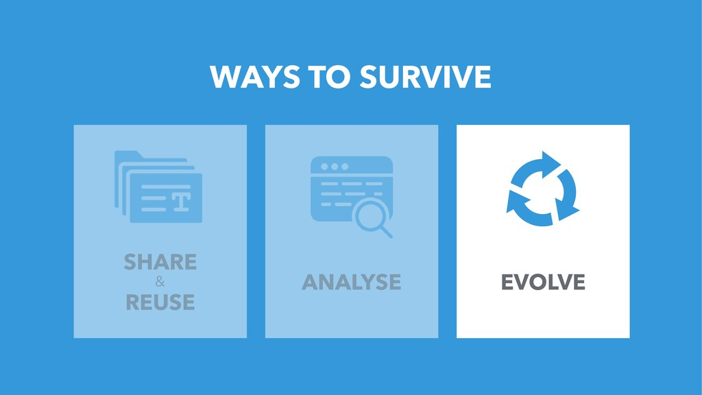 5 WAYS TO SURVIVE SHARE & REUSE ANALYSE EVOLVE