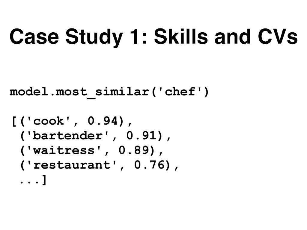 Case Study 1: Skills and CVs model.most_similar...