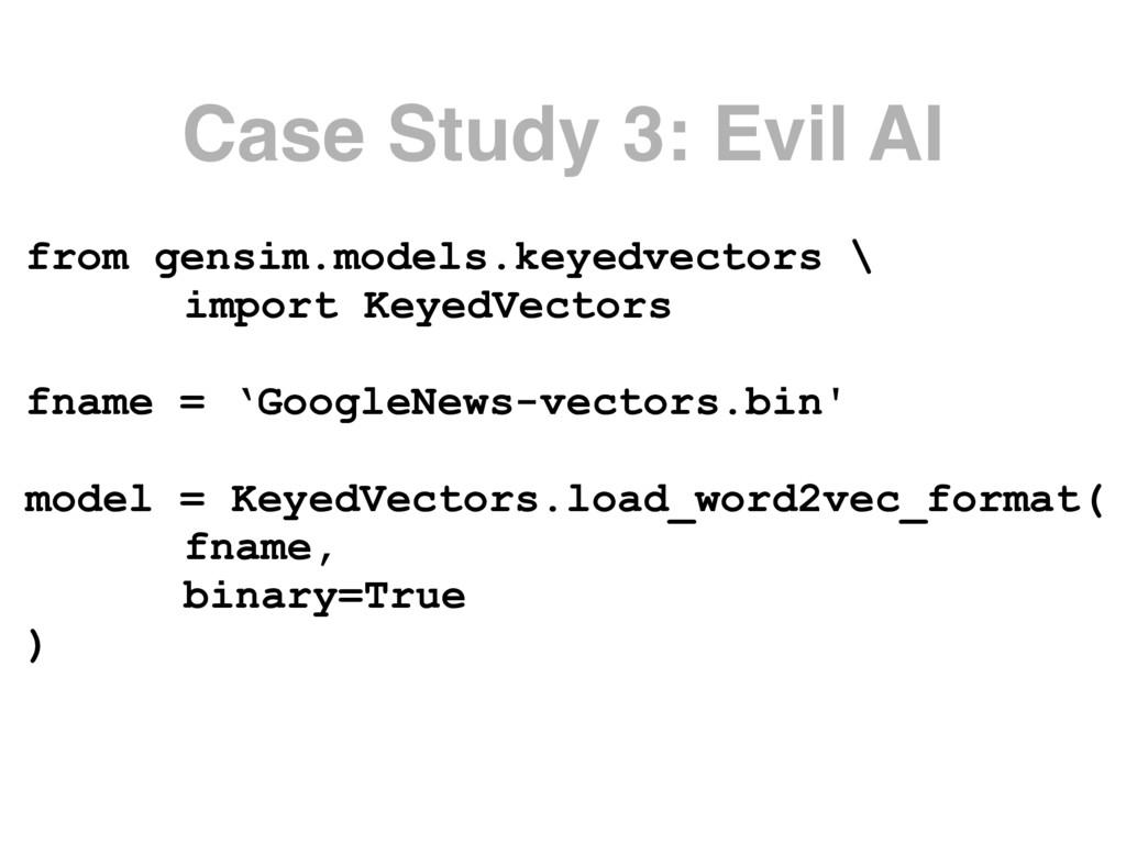 Case Study 3: Evil AI from gensim.models.keyedv...