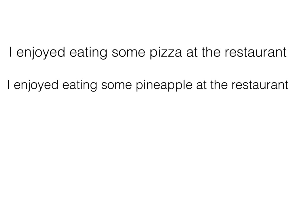 I enjoyed eating some pizza at the restaurant I...