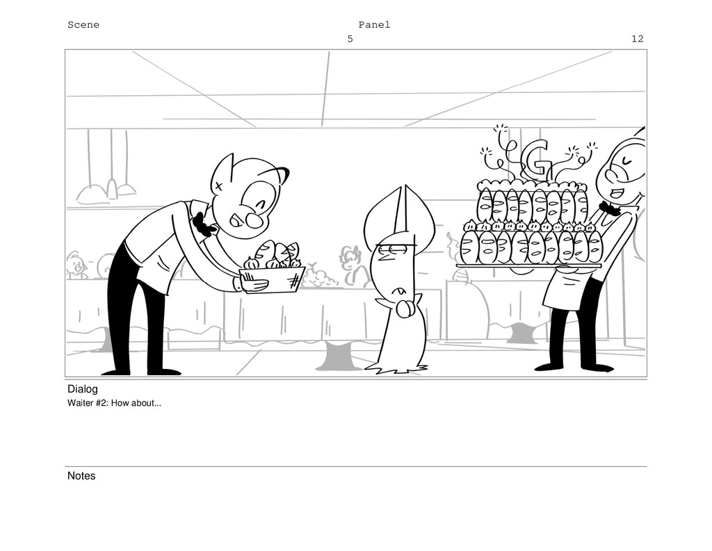 Scene 5 Panel 12 Dialog Waiter #2: How about......