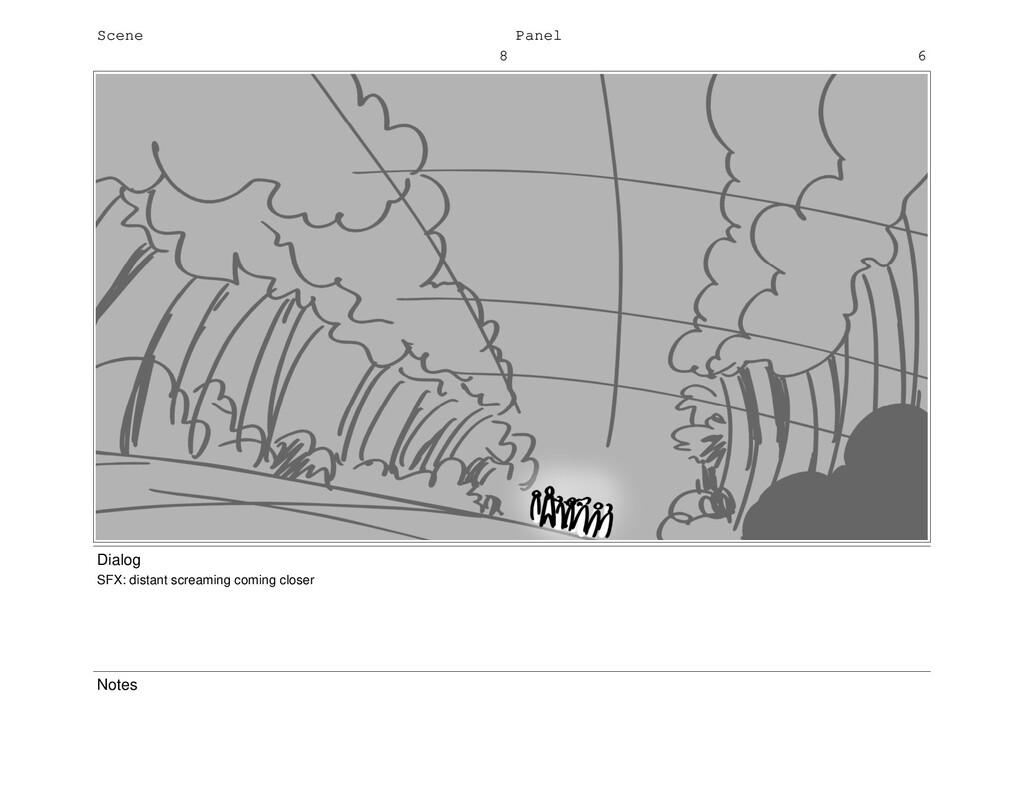 Scene 8 Panel 6 Dialog SFX: distant screaming c...