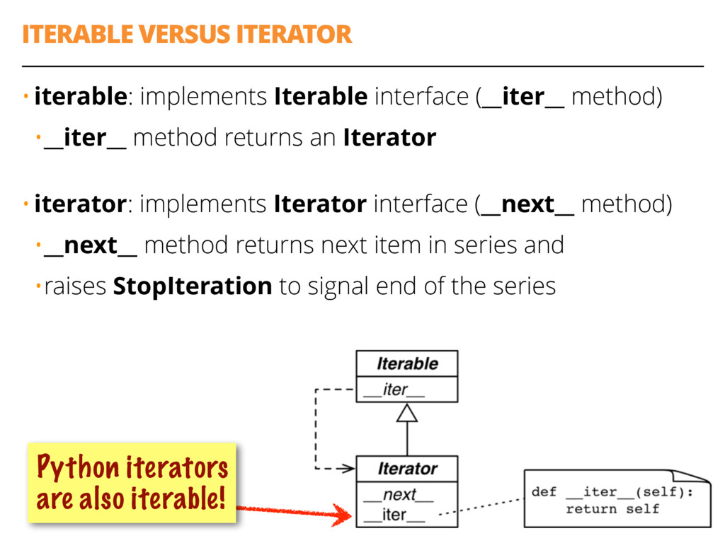 ITERABLE VERSUS ITERATOR 29 • iterable: impleme...