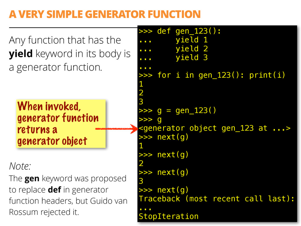 A VERY SIMPLE GENERATOR FUNCTION Any function t...