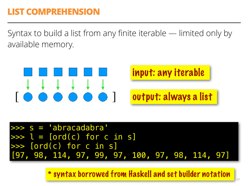 LIST COMPREHENSION Syntax to build a list from ...