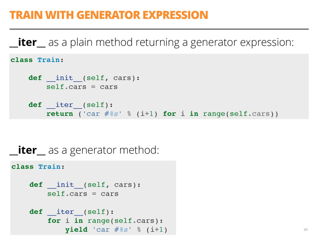 TRAIN WITH GENERATOR EXPRESSION __iter__ as a p...