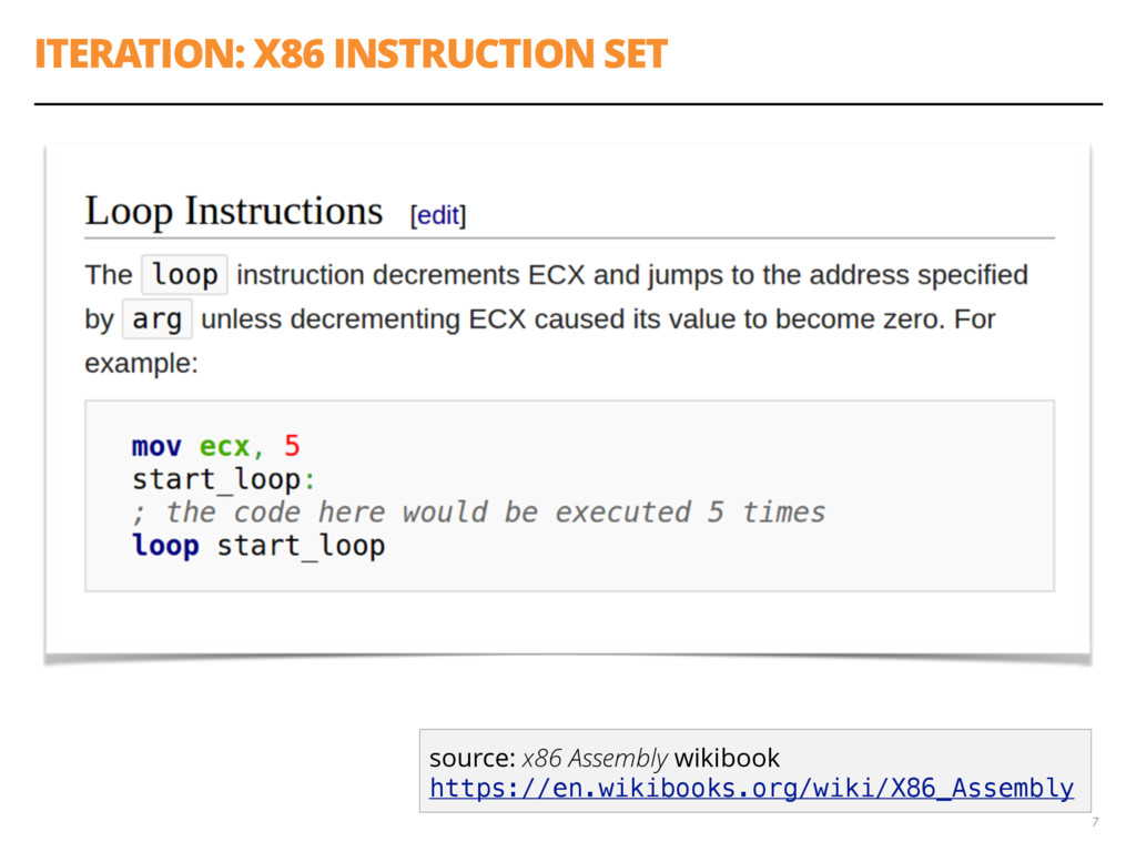 ITERATION: X86 INSTRUCTION SET 7 source: x86 As...