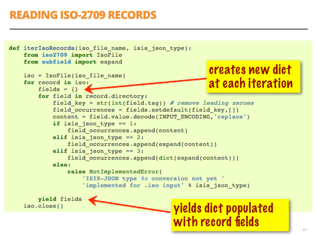 READING ISO-2709 RECORDS 63 yields dict populat...