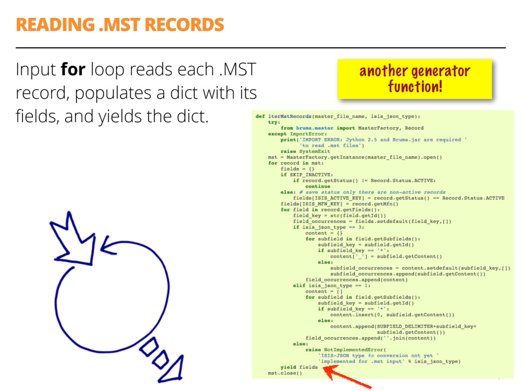 READING .MST RECORDS Input for loop reads each ...