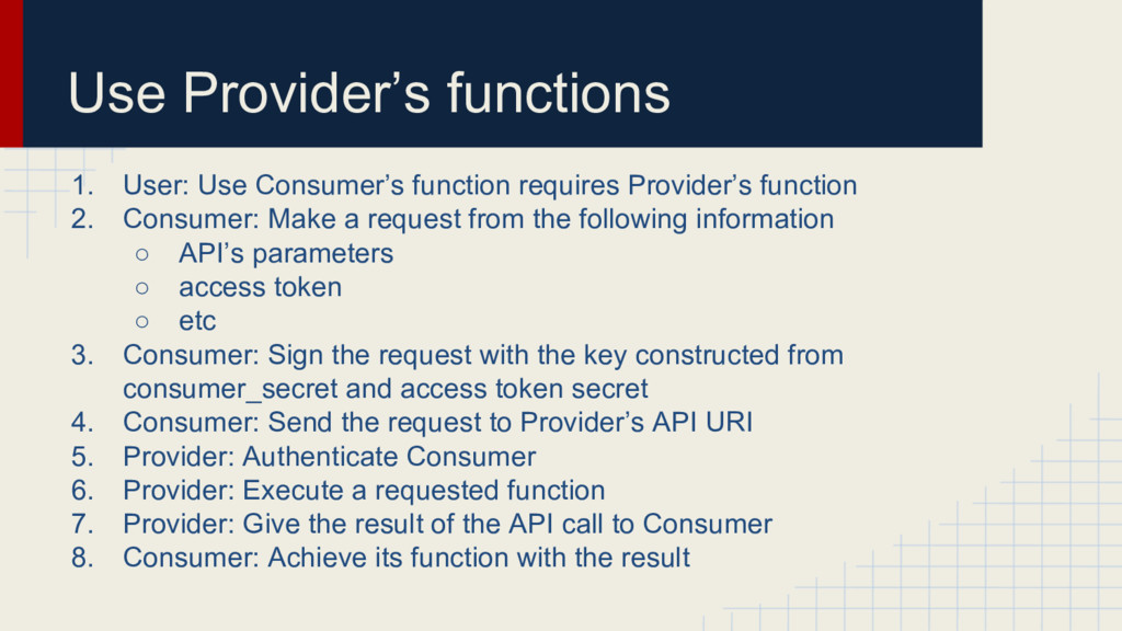 Use Provider's functions 1. User: Use Consumer'...