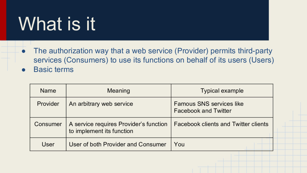 What is it ● The authorization way that a web s...
