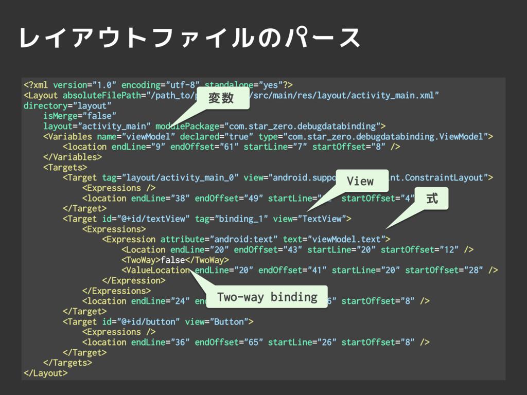 """レイアウトファイルのパース <?xml version=""""1.0"""" encoding=""""utf..."""