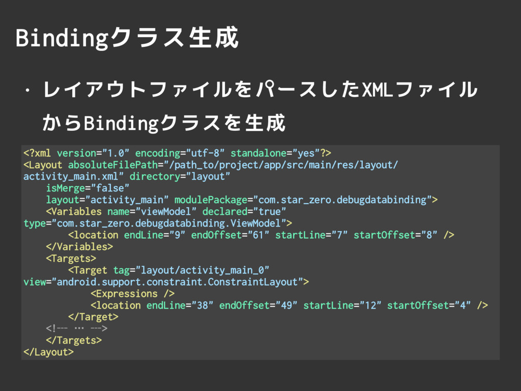 Bindingクラス生成 • レイアウトファイルをパースしたXMLファイル からBindin...