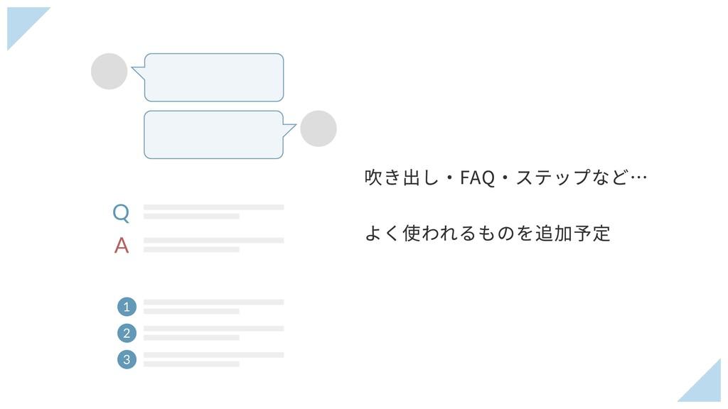 吹き出し・FAQ・ステップなど… よく使われるものを追加予定 Q A 1 2 3
