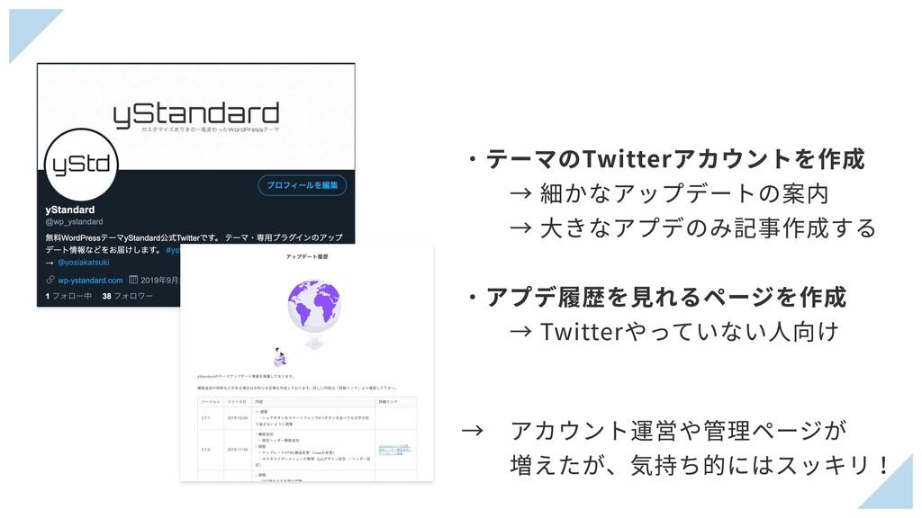 ・テーマのTwitterアカウントを作成 → 細かなアップデートの案内 → ⼤きなアプ...