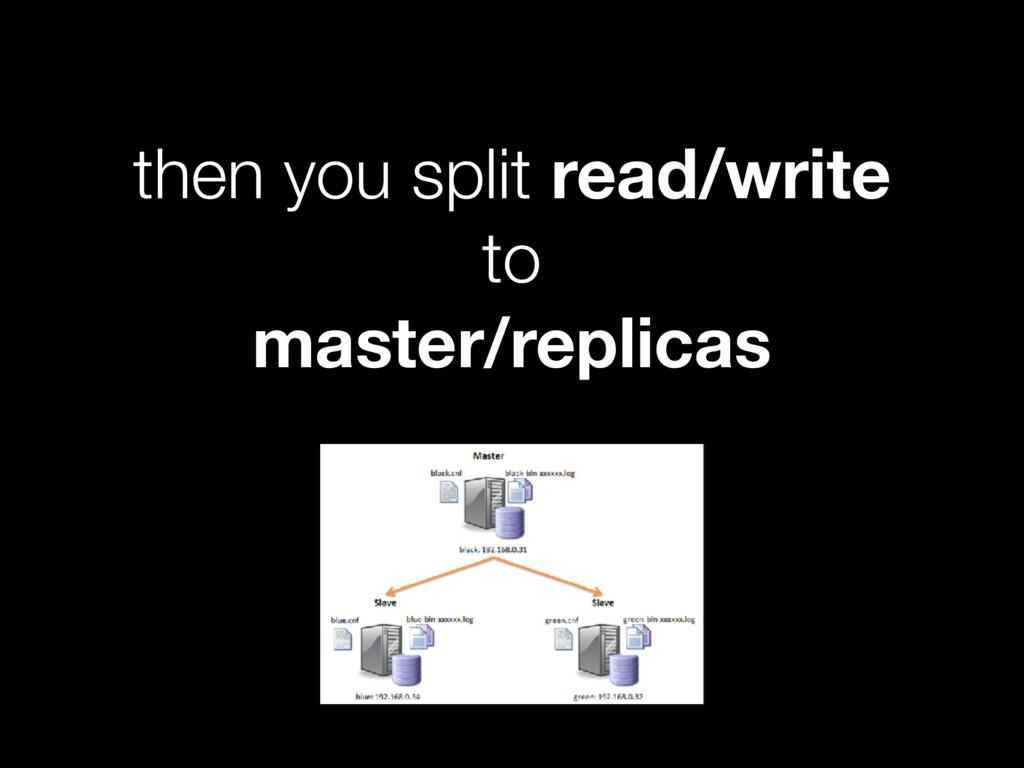 then you split read/write to master/replicas