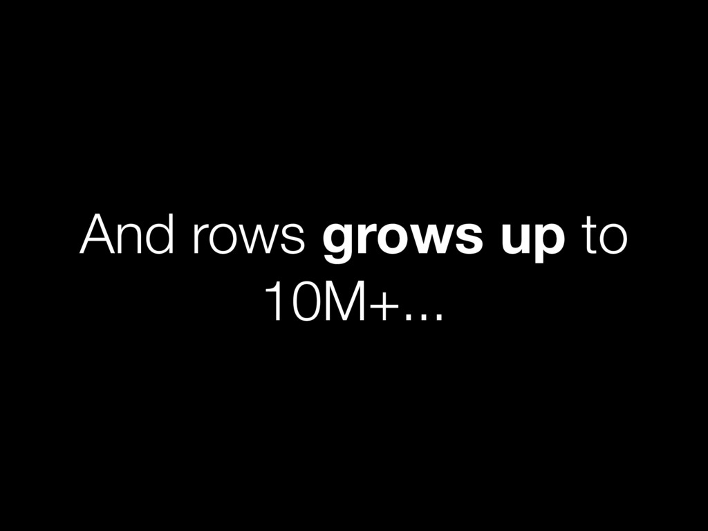 And rows grows up to 10M+...