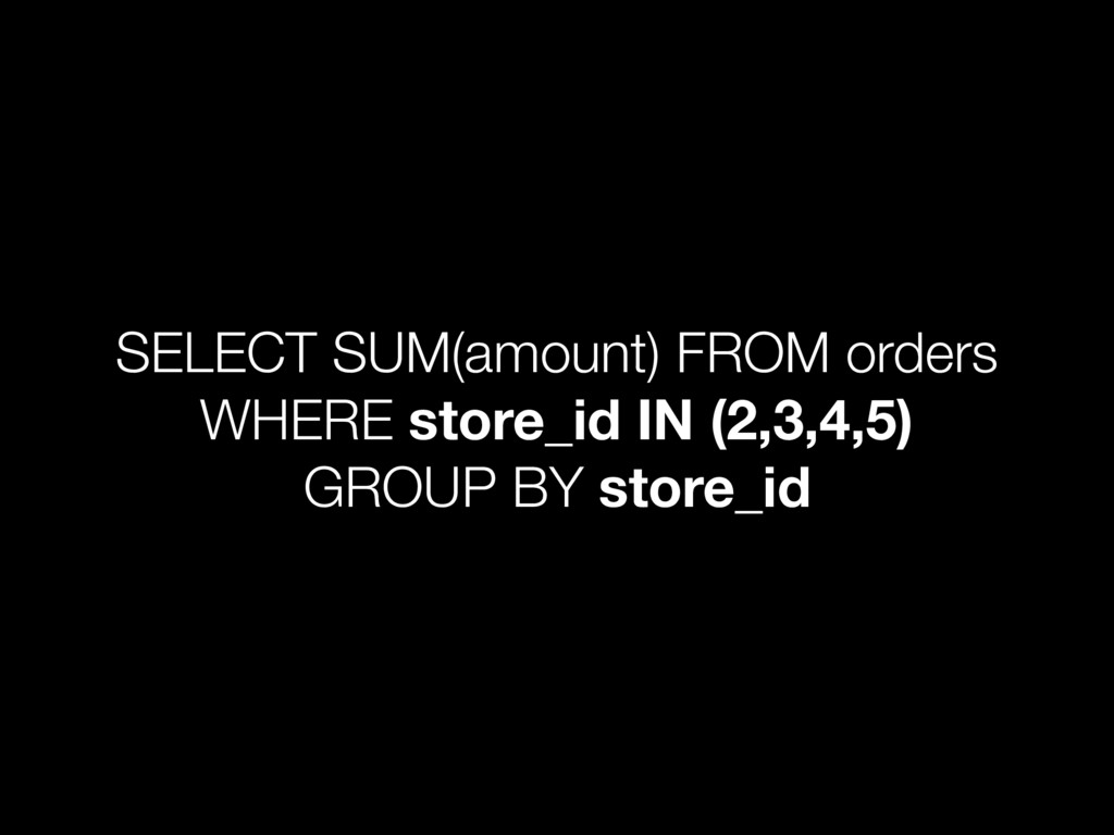 SELECT SUM(amount) FROM orders WHERE store_id I...