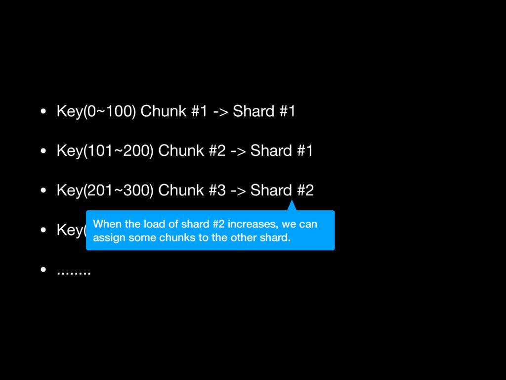 • Key(0~100) Chunk #1 -> Shard #1  • Key(101~20...