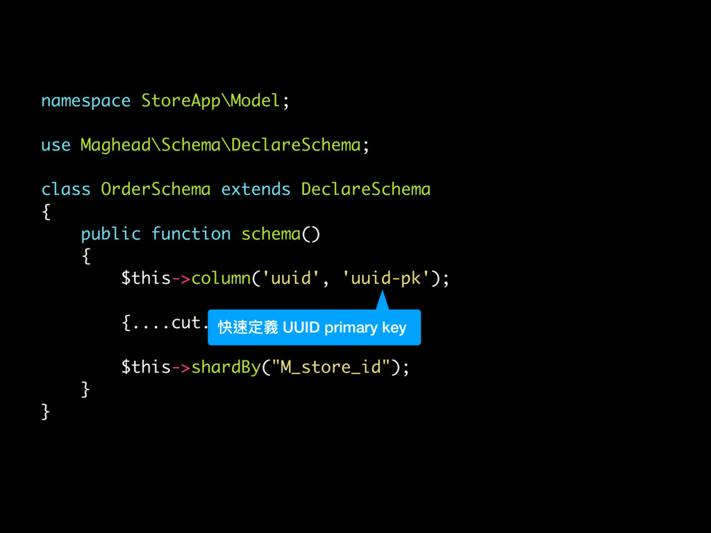 namespace StoreApp\Model; use Maghead\Schema\De...