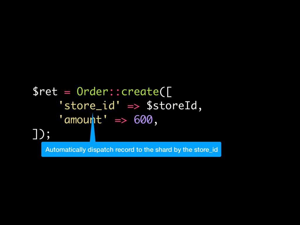 $ret = Order::create([ 'store_id' => $storeId, ...