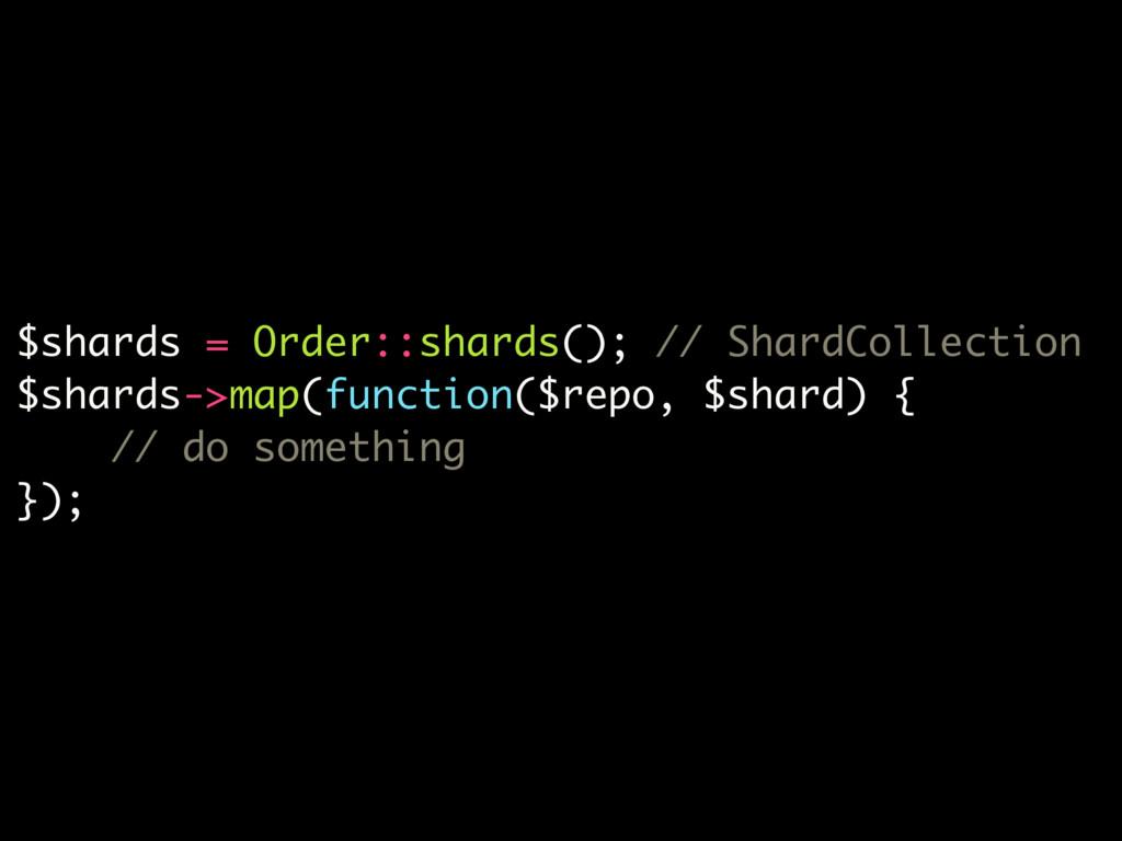 $shards = Order::shards(); // ShardCollection $...