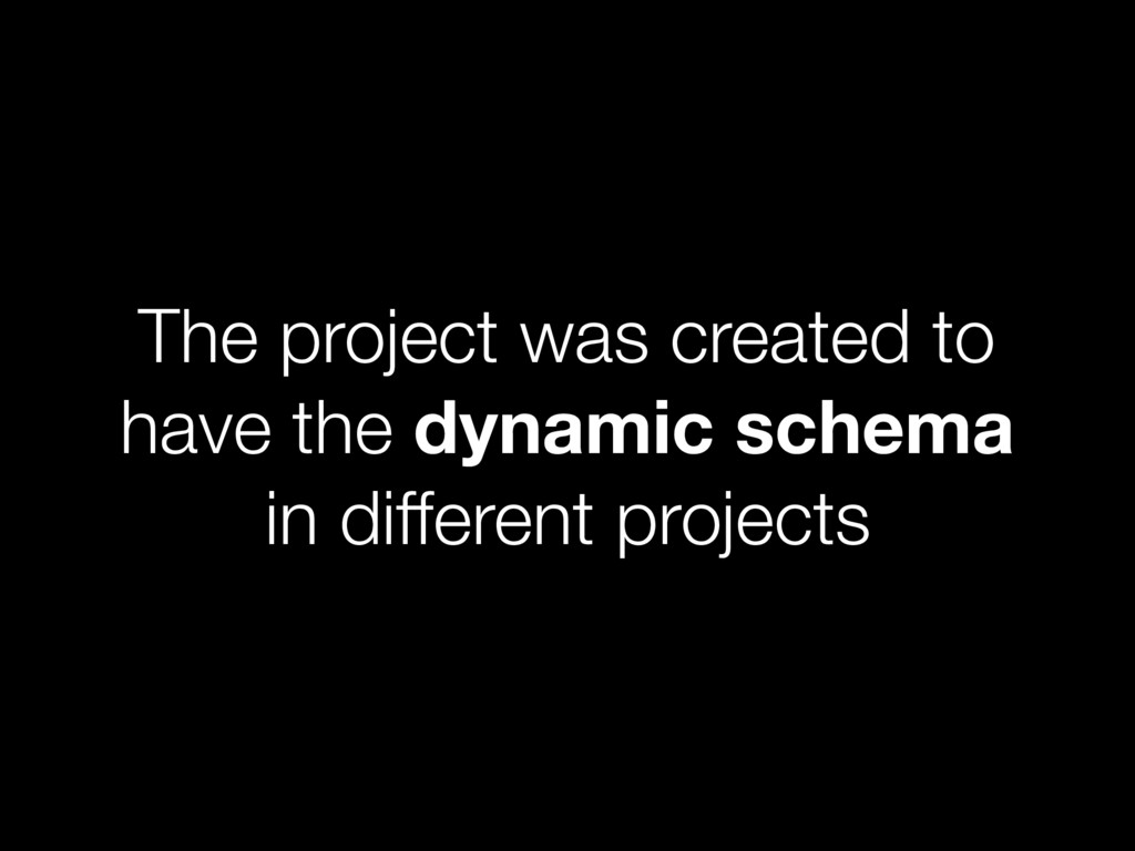 The project was created to have the dynamic sch...