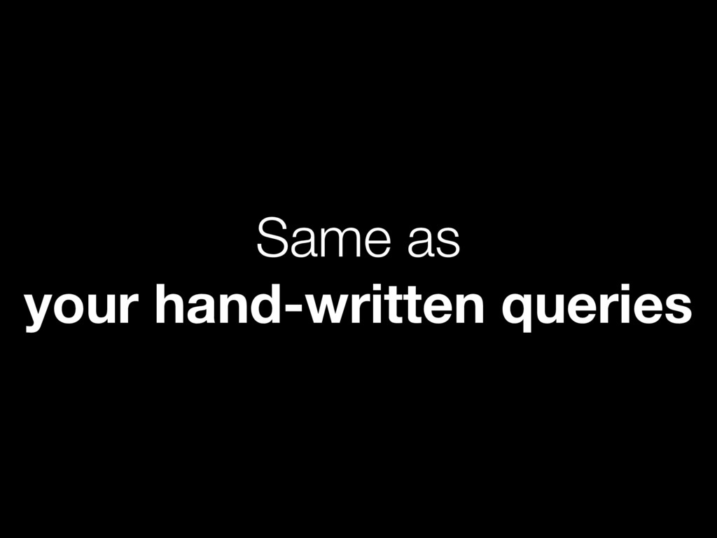 Same as your hand-written queries