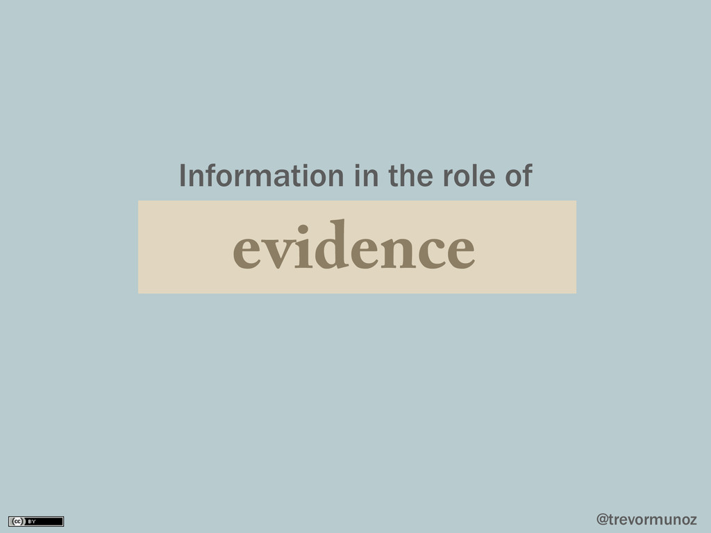 @trevormunoz Information in the role of evidence