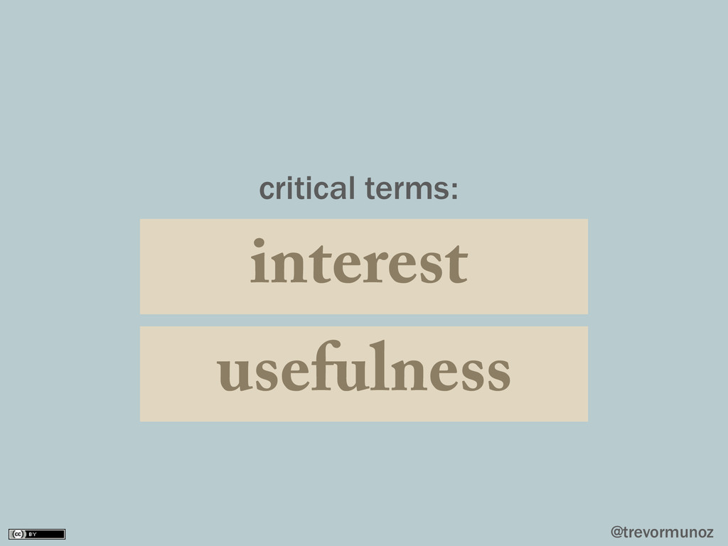 @trevormunoz usefulness interest critical terms: