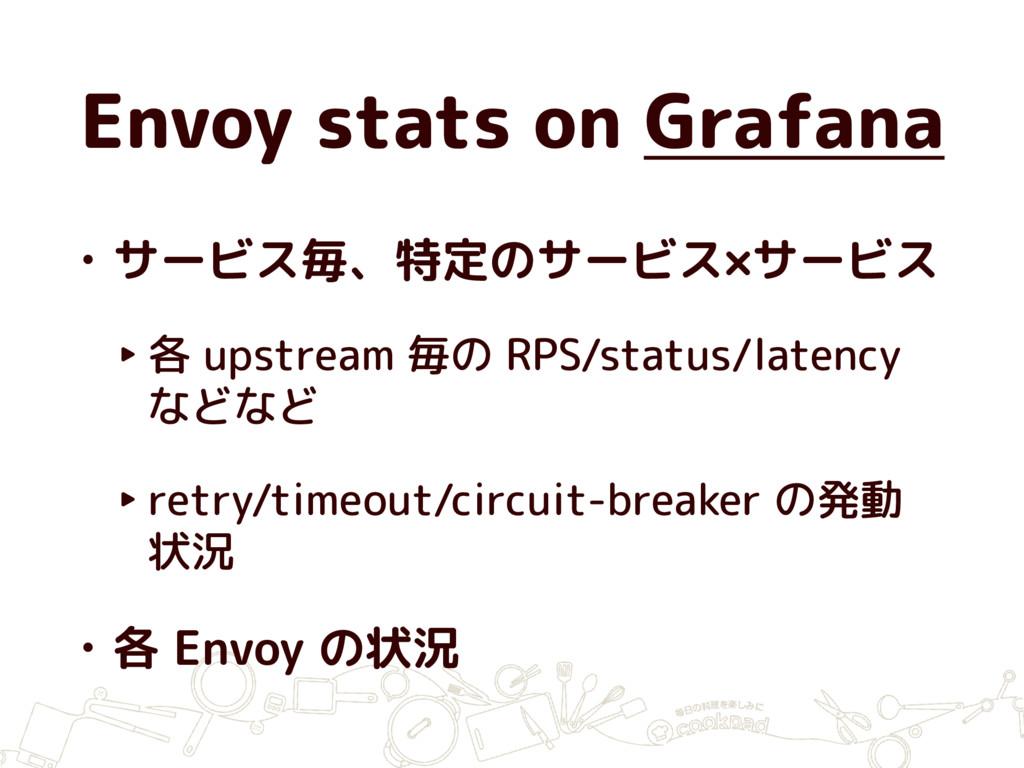Envoy stats on Grafana • サービス毎、特定のサービス×サービス ‣ 各...