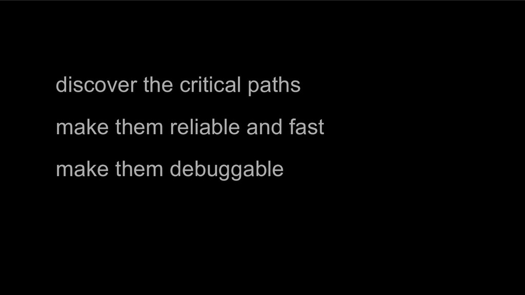 discover the critical paths make them reliable ...