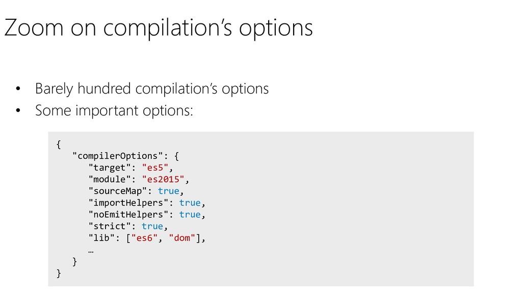 "Zoom on compilation's options { ""compilerOption..."