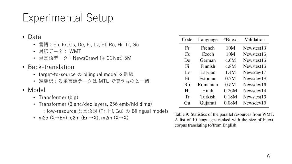 Experimental Setup • Data • ⾔語:En, Fr, Cs, De, ...
