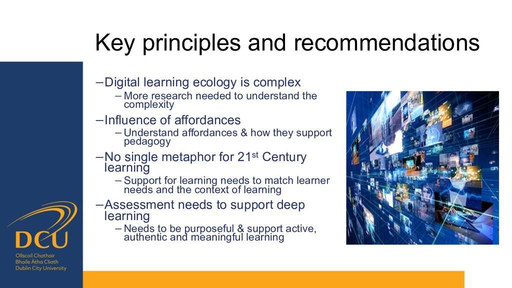 Key principles and recommendations −Digital lea...