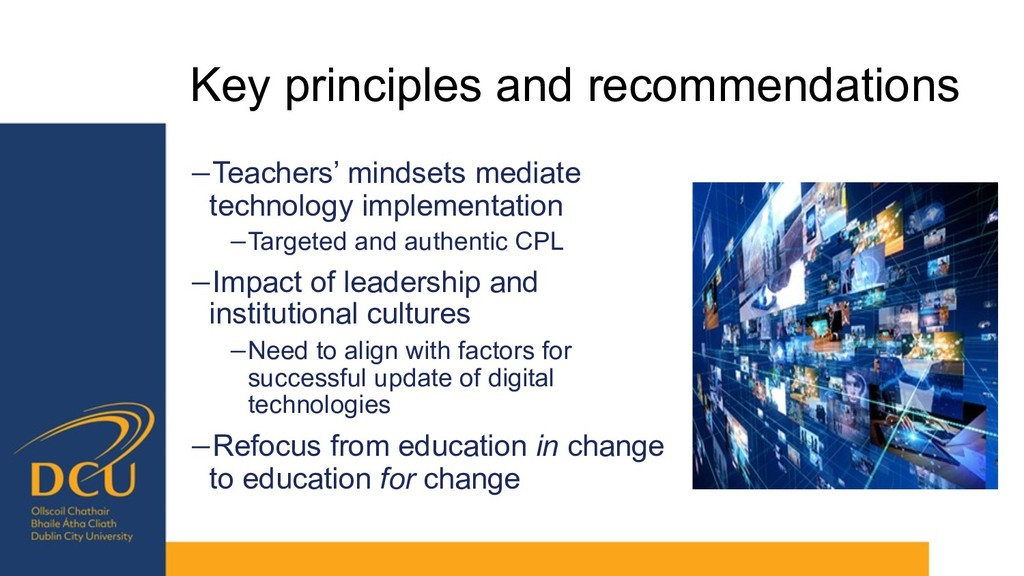 Key principles and recommendations −Teachers' m...